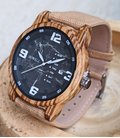 Houten horloge met spijkerstof band