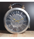 Steampunk klok-tas, zilver/grijs
