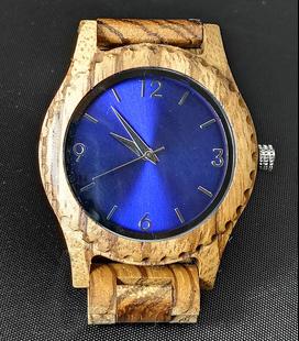 Zebra-houten horloge, blauw