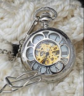 Vestzakhorloge met mechanisch uurwerk 'silver'