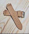Lichtbruin Rundleren Horlogeband voor houten horloge