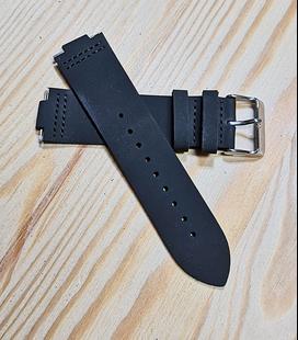 Zwart Rundleren Horlogeband voor houten horloge