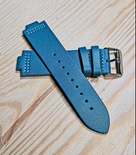 Blauw Rundleren Horlogeband voor houten horloge