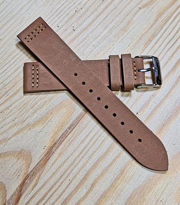 Bruin Rundleren Horlogeband 16 mm