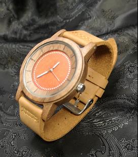 Zebra-houten horloge, rood