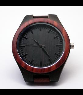 Volledig houten bruin/zwart horloge