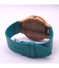 Houten horloge, blauw leren band en wijzerplaat